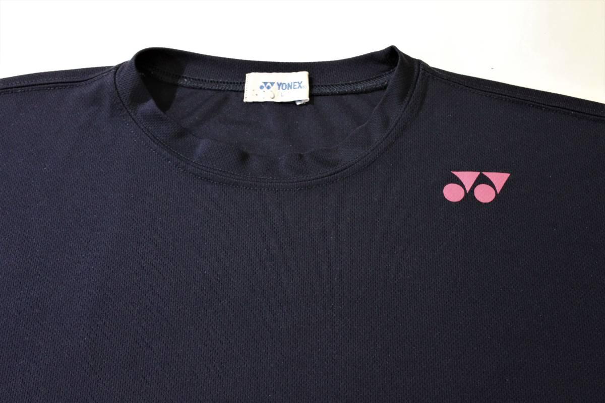 ◆YONEX ヨネックス◆半袖 吸汗速乾 Tシャツ ネイビー:L _画像4