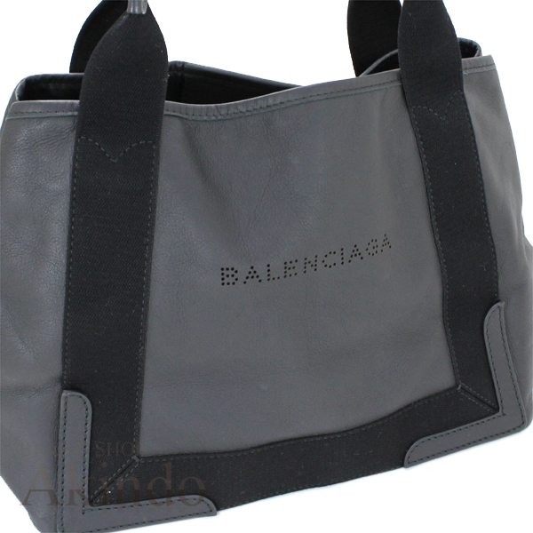 バレンシアガ ネイビーカバ S ハンドバッグ トートバッグ 黒 ブラック ソフトレザー レディース 339933 BALENCIAGA_画像2