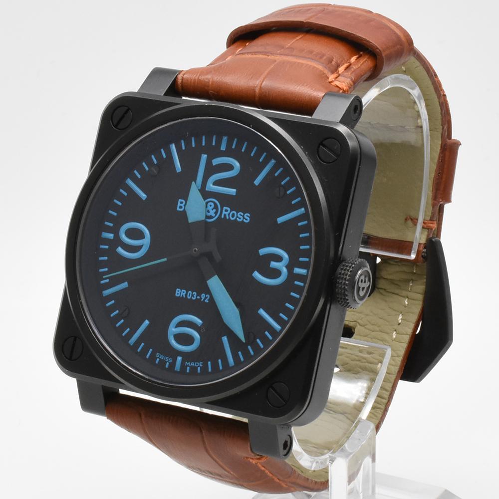 ベル&ロス Bell&Ross BR03-92 オートマティック 青 ブルー 黒 ブラック メンズ 42mm PVD 自動巻 高級腕時計 かっこいい オシャレ 美品_画像3
