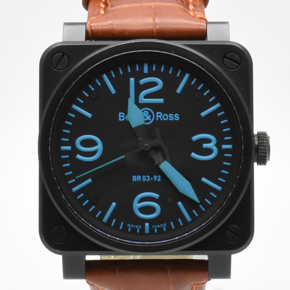 ベル&ロス Bell&Ross BR03-92 オートマティック 青 ブルー 黒 ブラック メンズ 42mm PVD 自動巻 高級腕時計 かっこいい オシャレ 美品_画像2