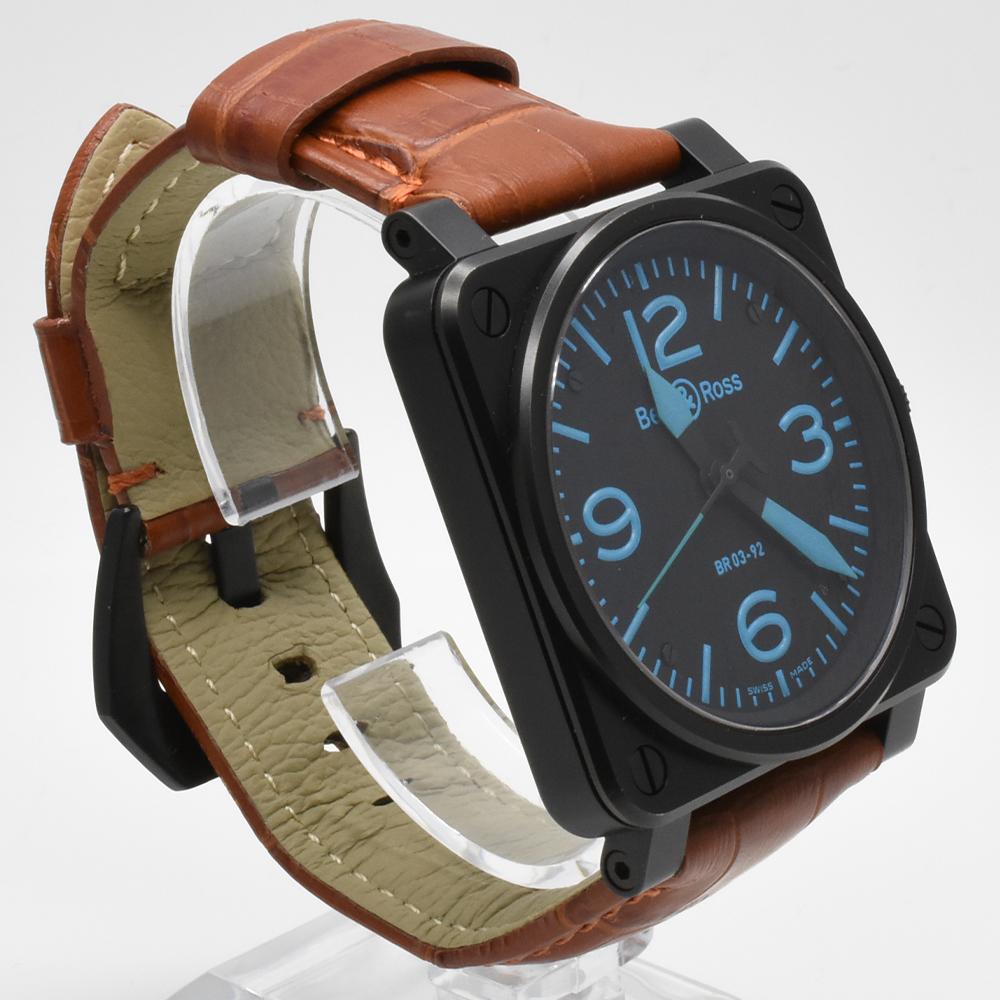 ベル&ロス Bell&Ross BR03-92 オートマティック 青 ブルー 黒 ブラック メンズ 42mm PVD 自動巻 高級腕時計 かっこいい オシャレ 美品_画像4