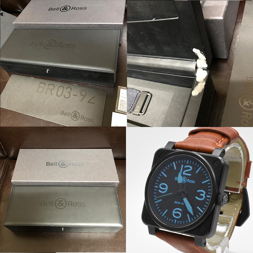 ベル&ロス Bell&Ross BR03-92 オートマティック 青 ブルー 黒 ブラック メンズ 42mm PVD 自動巻 高級腕時計 かっこいい オシャレ 美品_画像10