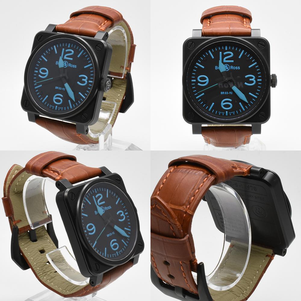 ベル&ロス Bell&Ross BR03-92 オートマティック 青 ブルー 黒 ブラック メンズ 42mm PVD 自動巻 高級腕時計 かっこいい オシャレ 美品_画像5