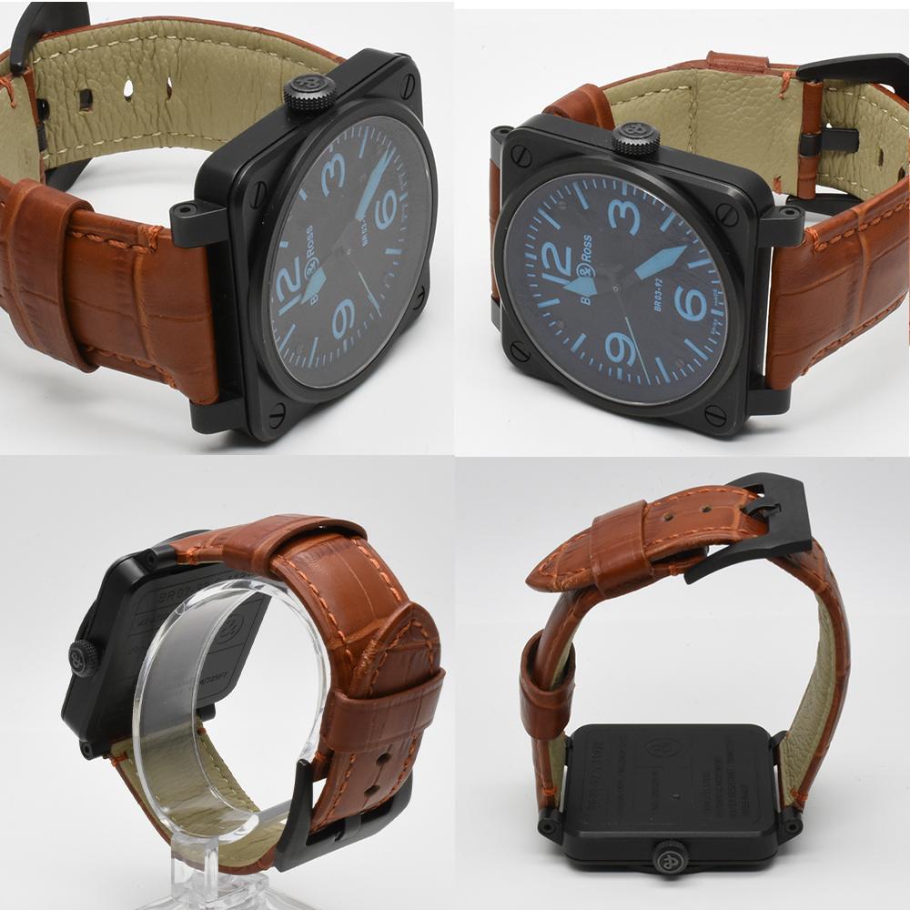 ベル&ロス Bell&Ross BR03-92 オートマティック 青 ブルー 黒 ブラック メンズ 42mm PVD 自動巻 高級腕時計 かっこいい オシャレ 美品_画像7
