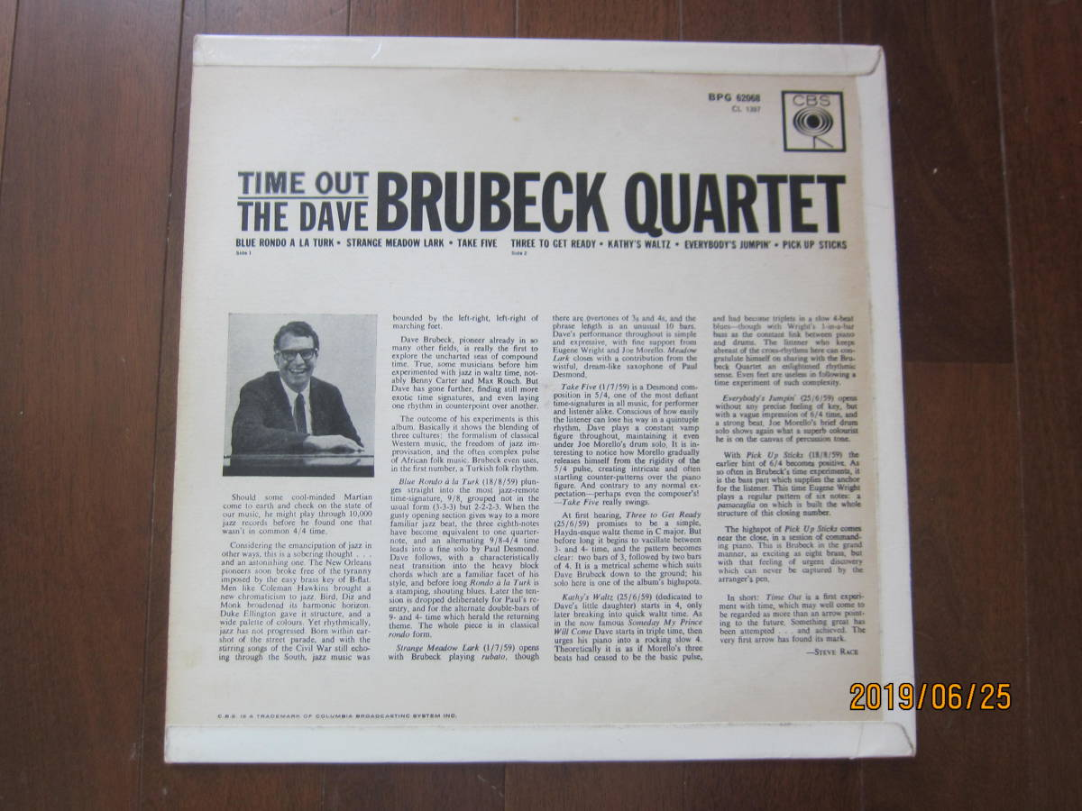 ◆ Dave Bluebeck/Time Out UKオリジナル モノラル 超美盤 すごい音 ◆_画像2