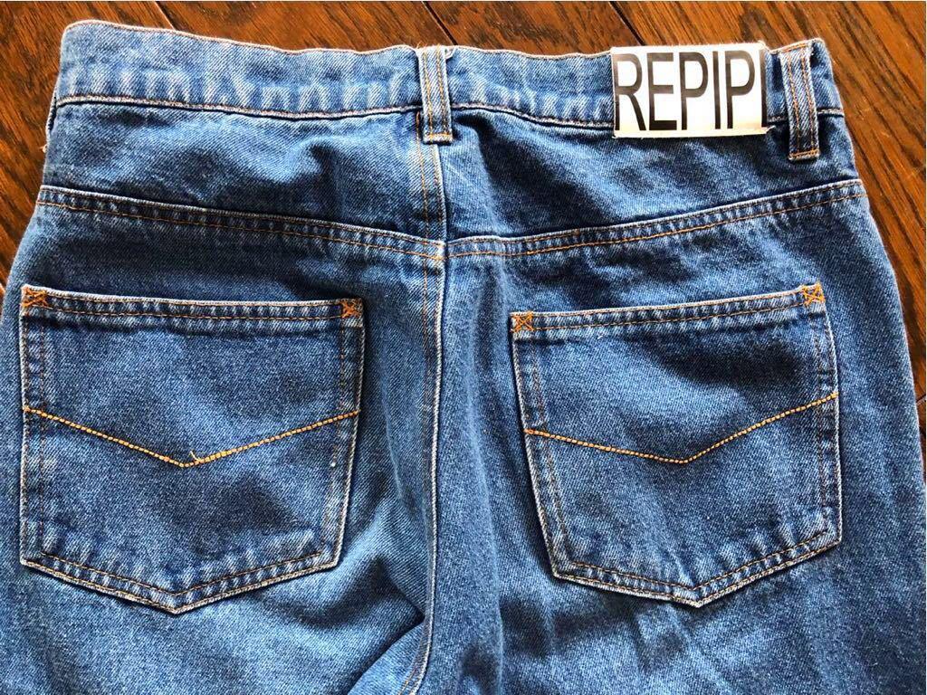repipi armario レピピアルマリオ ウエストロゴがかわいい ブルー デニムパンツ size S 青 150 160 used_画像3