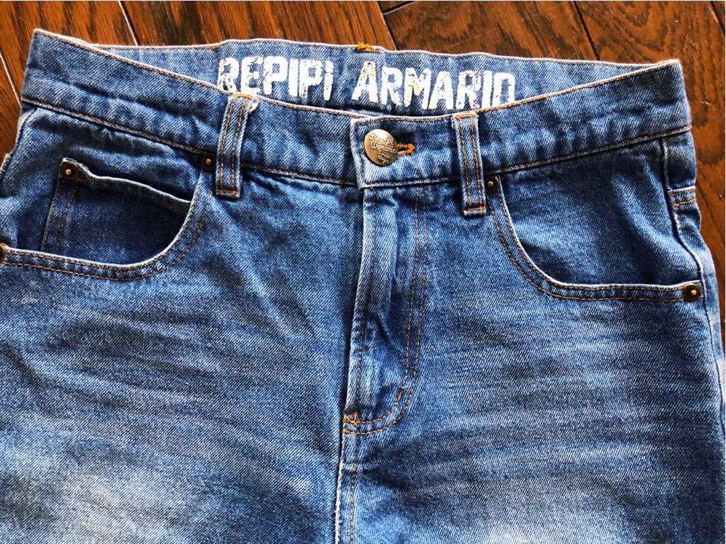 repipi armario レピピアルマリオ ウエストロゴがかわいい ブルー デニムパンツ size S 青 150 160 used_画像2