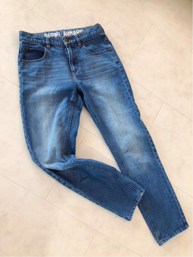 repipi armario レピピアルマリオ ウエストロゴがかわいい ブルー デニムパンツ size S 青 150 160 used
