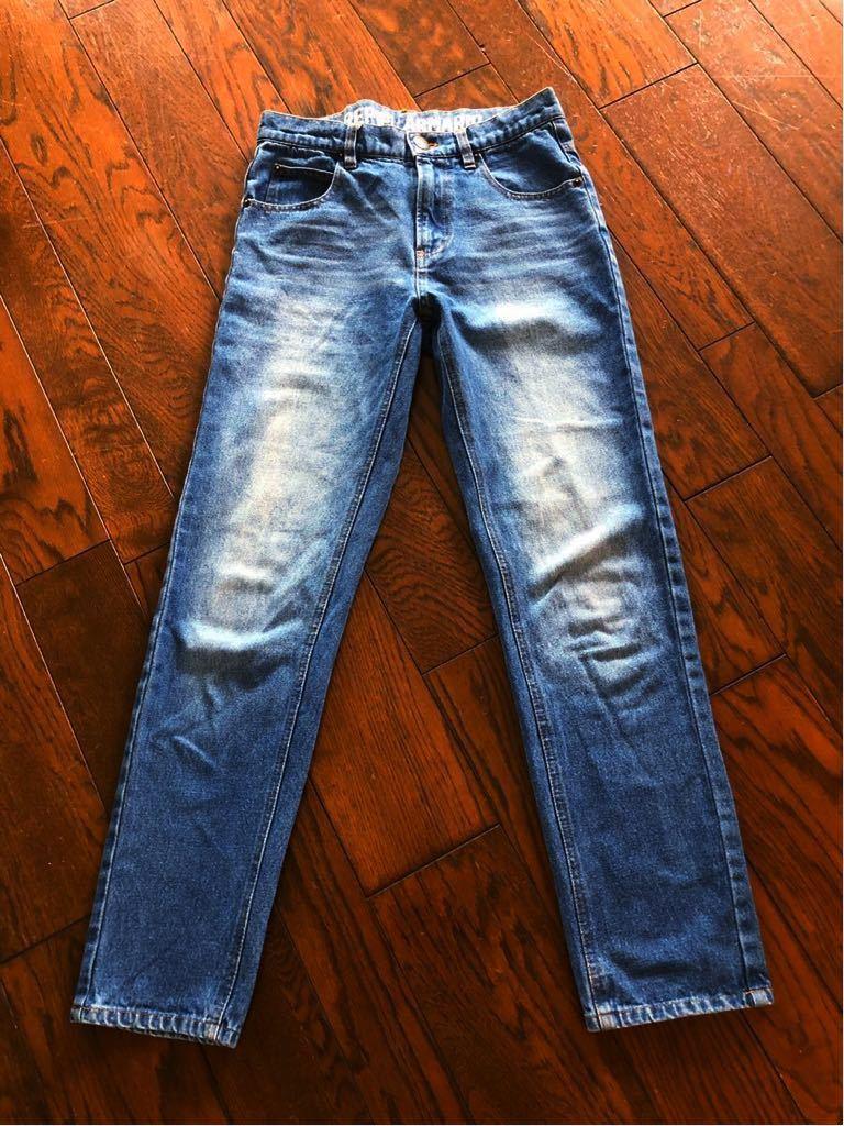 repipi armario レピピアルマリオ ウエストロゴがかわいい ブルー デニムパンツ size S 青 150 160 used_画像5
