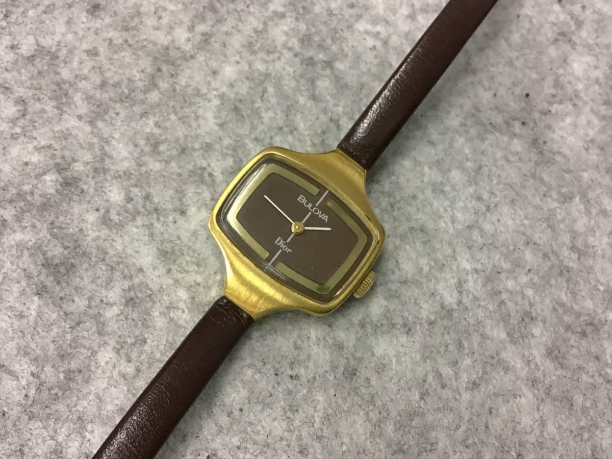 ☆彡手巻き式★動作品『★★BULOVA Dior 手巻き腕時計 稼働品 2針 2-788649 N 3 レディース ブローバ ディオール 手巻き★◆』☆彡