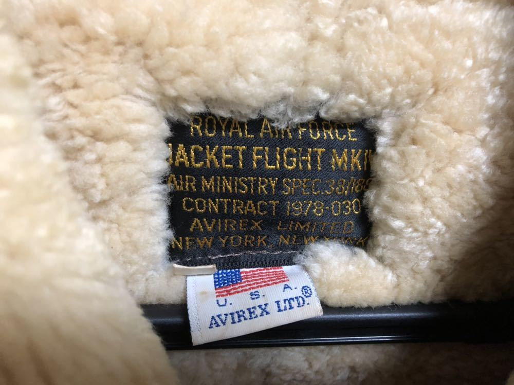 AVIREX ボンバージャケット/レザー/ムートン/ヴィンテージ物/サイズ40 中古 美品_画像2