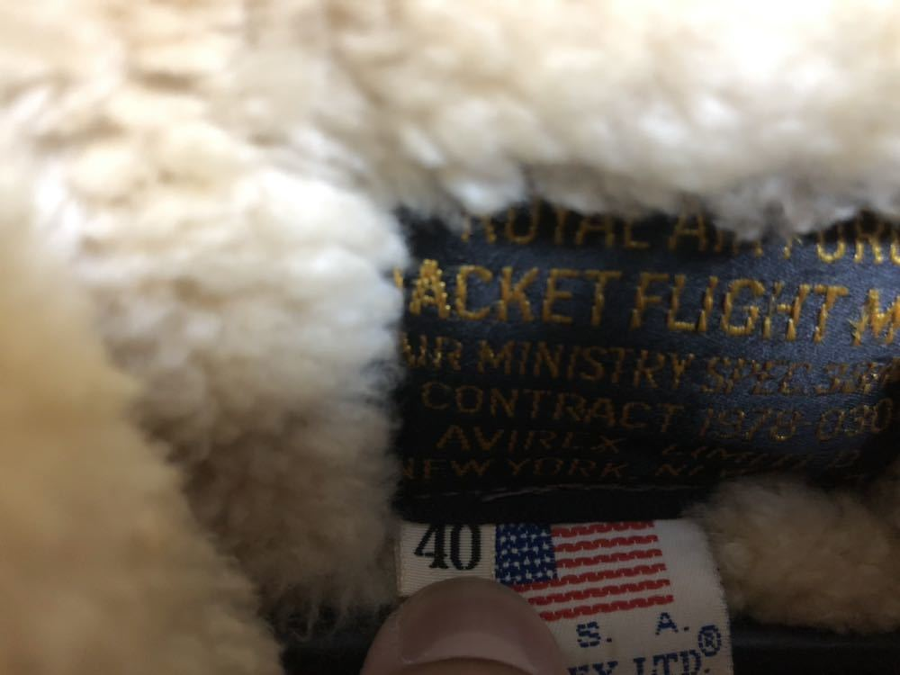 AVIREX ボンバージャケット/レザー/ムートン/ヴィンテージ物/サイズ40 中古 美品_画像3