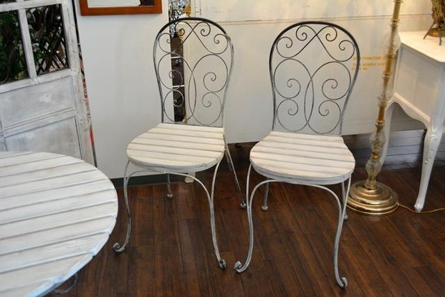 2036r25 アイアンカフェ/ガーデンテーブルセット アンティーク風シャビーシック優雅なデザインテーブルセットで素敵なアフタヌーンティーを_画像6