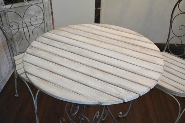 2036r25 アイアンカフェ/ガーデンテーブルセット アンティーク風シャビーシック優雅なデザインテーブルセットで素敵なアフタヌーンティーを_画像5