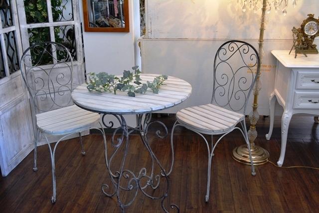 2036r25 アイアンカフェ/ガーデンテーブルセット アンティーク風シャビーシック優雅なデザインテーブルセットで素敵なアフタヌーンティーを