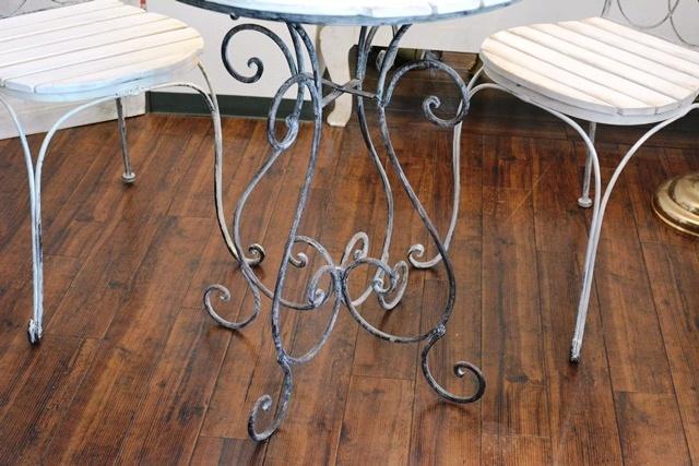 2036r25 アイアンカフェ/ガーデンテーブルセット アンティーク風シャビーシック優雅なデザインテーブルセットで素敵なアフタヌーンティーを_画像4