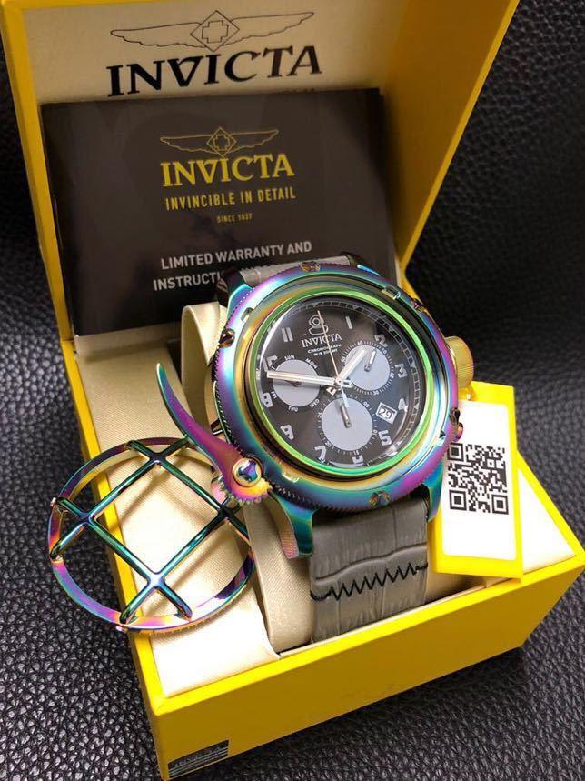 新品 レインボーカラー インビクタ ロシアンダイバー Invicta Russian diver スイス製クォーツ メーカー価格1895ドル レザーベルト_画像4
