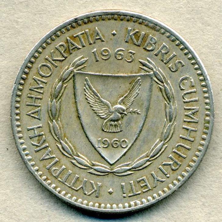 1963年 キプロス 100ミル 白銅貨 29mm 硬貨◆CK-16_画像2