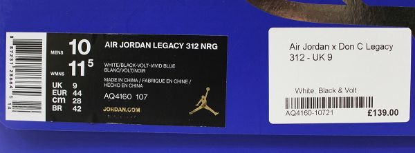 NIKE ナイキ AIR JORDAN LEGACY 312 NRG Just Don #AQ4160-107 未使用品 28cm / US10 / エアジョーダン / レガシー_画像9