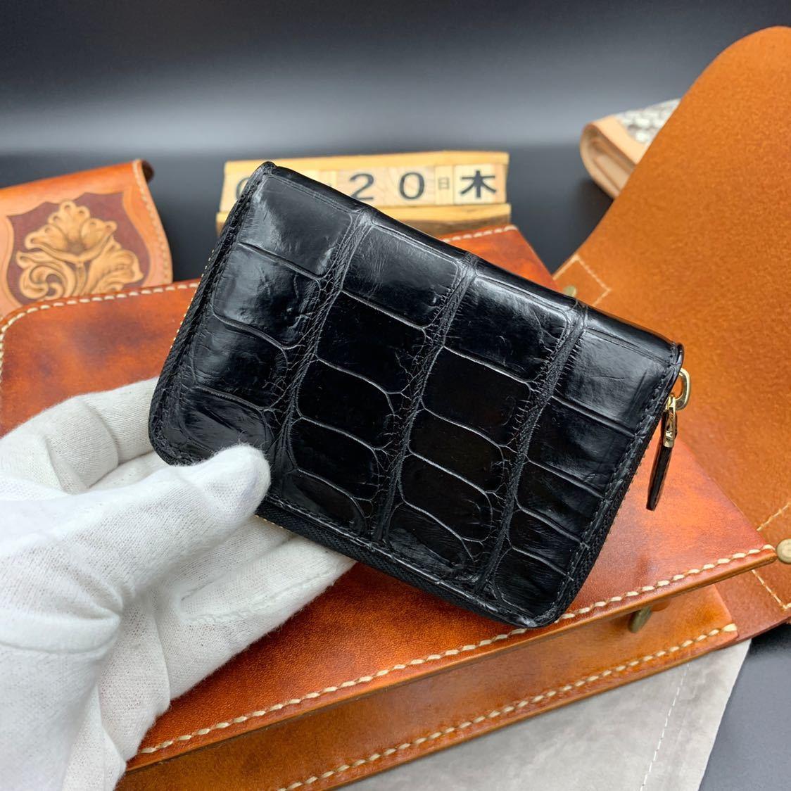 極上※希少特注※ クロコダイル 財布 ラウンドファスナー ワニ革 小銭入れ カードケース ミドルウォレット 新品未使用 実物写真