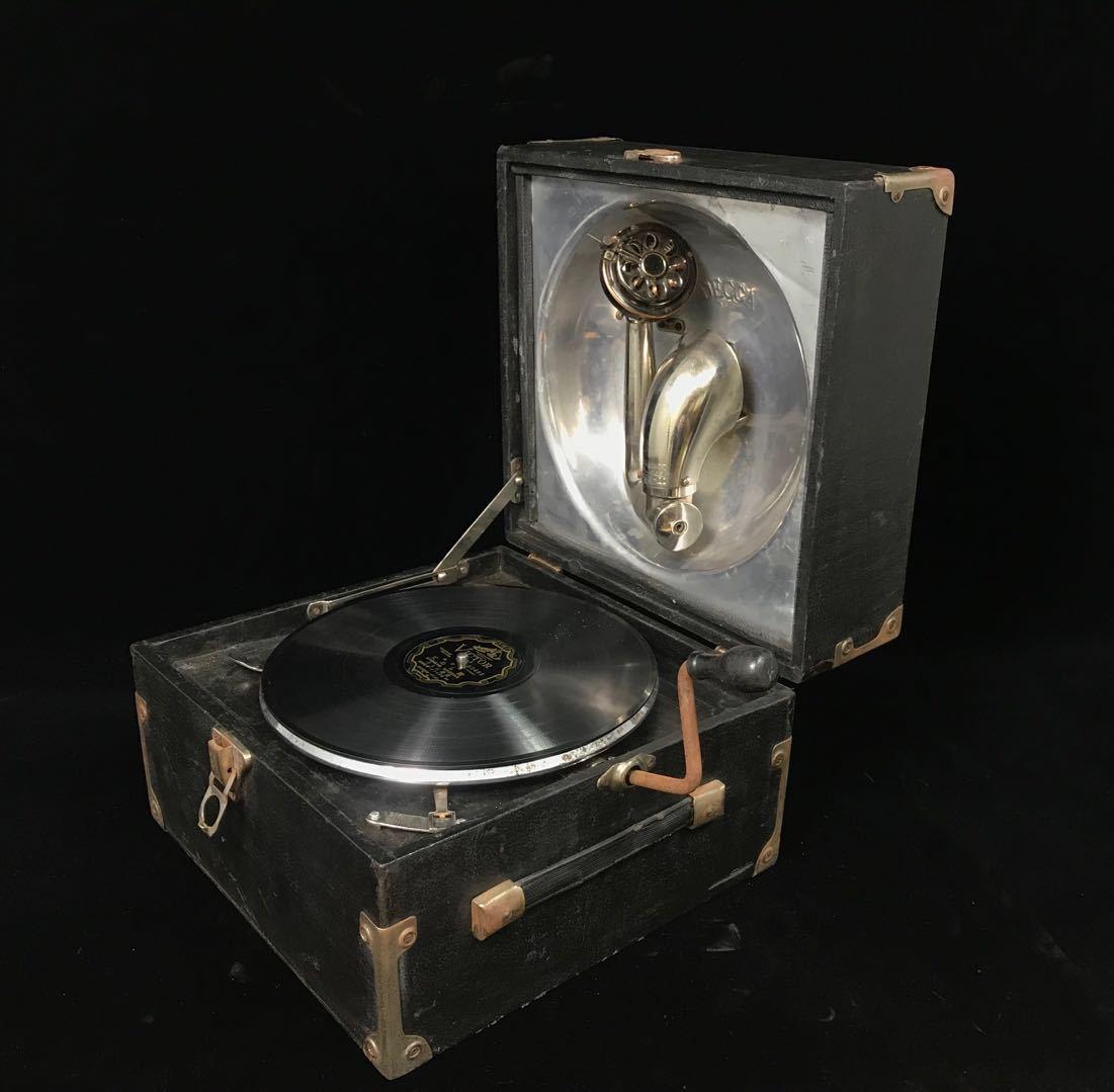 T1381★【DECCA蓄音機 】DECCA THORENS No.15 アンティーク 蓄音機 手巻き式 盤卓上レコード 古道具 動作確認済み
