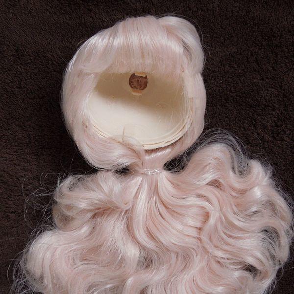 bl067【Blytheカスタム】ブライス・ ロングパーマ頭皮付きヘアー(薄ピンク色)_画像3