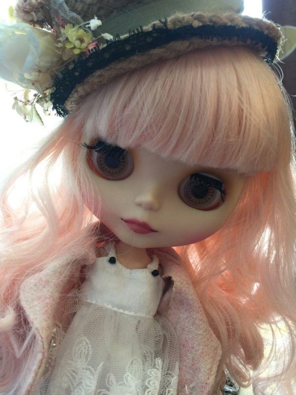 bl067【Blytheカスタム】ブライス・ ロングパーマ頭皮付きヘアー(薄ピンク色)_画像2
