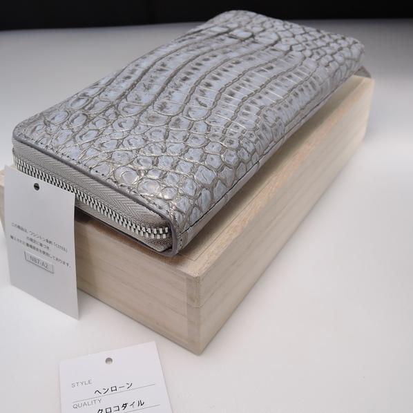 新品 本物 【クロコダイル 長財布 】ラウンドファスナー マット 吟スリ クロコ 財布 金 銀 色 メンズ 財布 genuine crocodile_画像9