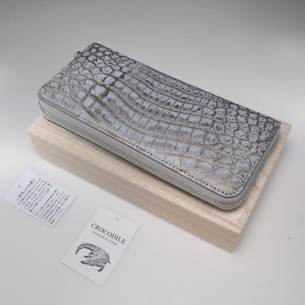 新品 本物 【クロコダイル 長財布 】ラウンドファスナー マット 吟スリ クロコ 財布 金 銀 色 メンズ 財布 genuine crocodile_画像3