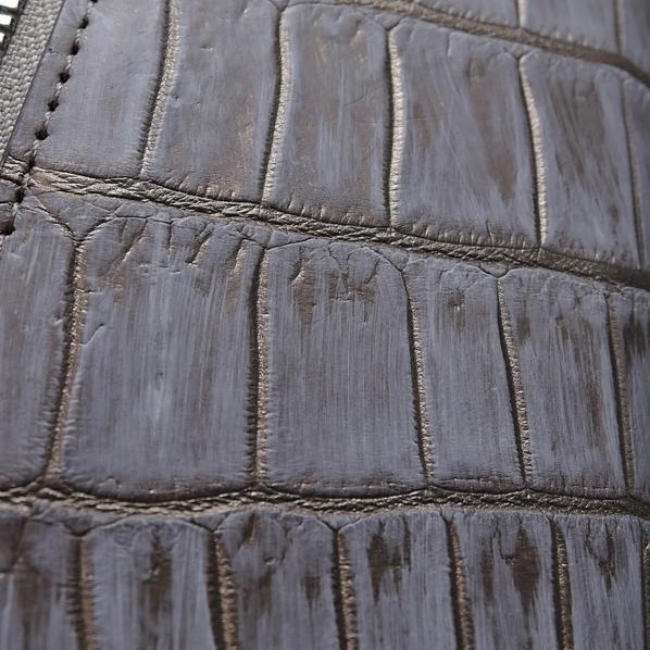 新品 本物 【クロコダイル 長財布 】ラウンドファスナー マット 吟スリ クロコ 財布 金 銀 色 メンズ 財布 genuine crocodile_画像5