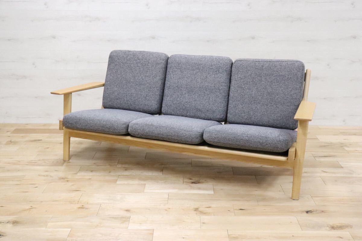 ハンス ウェグナー デザイン 3人掛けソファ トリプルソファ リプロダクト 北欧 アッシュ材 290イージーチェア gmck267