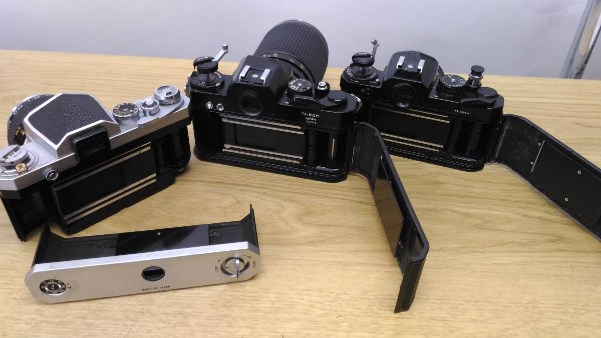 [MtY20]Nikon ニコン フィルムカメラまとめ Nikon F/Nikon FE/Nikomat EL ストロボ ジャンク品 80サイズ_画像8