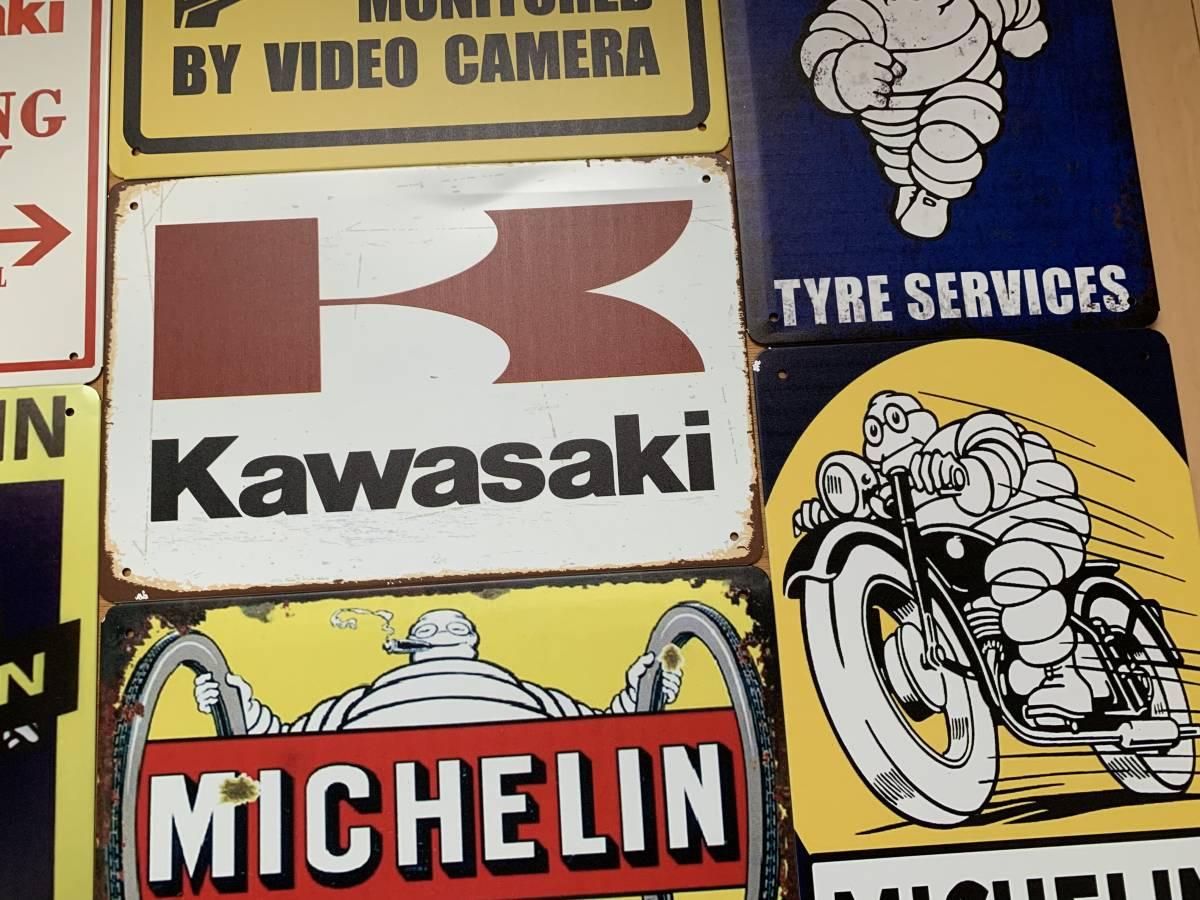 訳あり ブリキ看板 20×30㎝ 7枚セット KAWASAKI PARKING ONLY 24Hours Camera 防犯 カメラ MICHELIN ミシュラン 新品 送料無料 1円 ~_画像3
