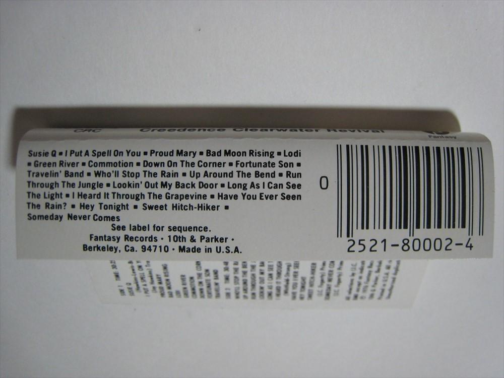 【カセットテープ】 CREEDENCE CLEARWATER REVIVAL / CHRONICLE US版 クリーデンス・クリアウォーター・リバイバル クロニクル_画像5