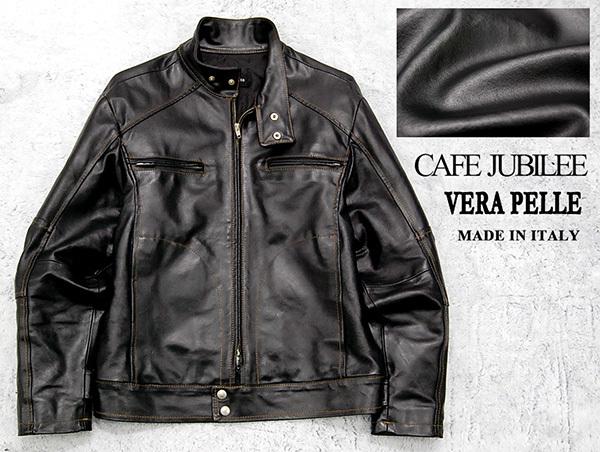 """イタリア製 """"VERA PELLE""""認定 カフェ ジュビリー CAFE JUBILEE 牛革 スタンドカラー レザーライダースジャケット/黒"""