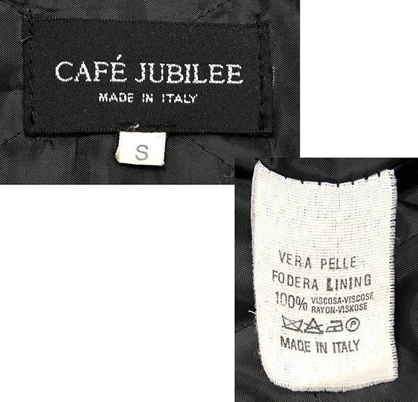 """イタリア製 """"VERA PELLE""""認定 カフェ ジュビリー CAFE JUBILEE 牛革 スタンドカラー レザーライダースジャケット/黒_画像4"""