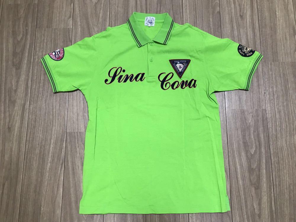 超美品 SINA COVA シナコバ 半袖 ポロシャツ メンズ サイズ LL グリーン 緑 ワッペン シャツ トップス 高級 人気 ゴルフ 日本製 大きい