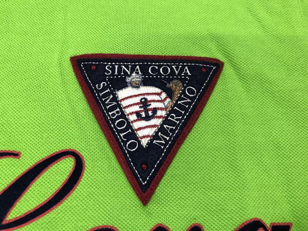 超美品 SINA COVA シナコバ 半袖 ポロシャツ メンズ サイズ LL グリーン 緑 ワッペン シャツ トップス 高級 人気 ゴルフ 日本製 大きい_画像3