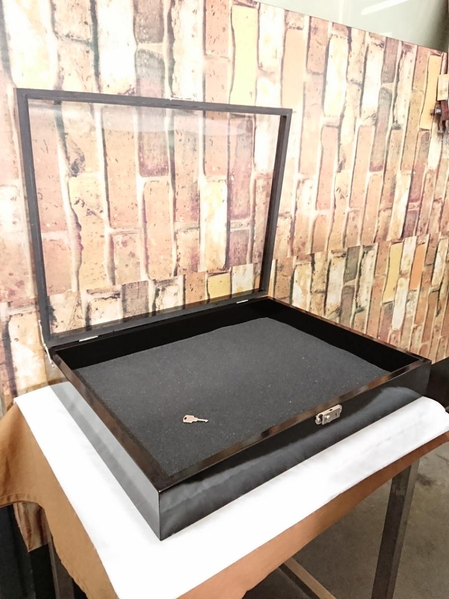 美品☆ディスプレイ ケース コレクションボックス カギ付き 黒 壁掛けにも!_画像2