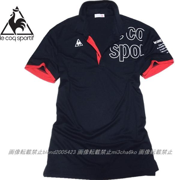 ■新品【le coq】ルコック左胸BIGロゴQUICK-DRY吸汗速乾機能ポロ■NV/XO