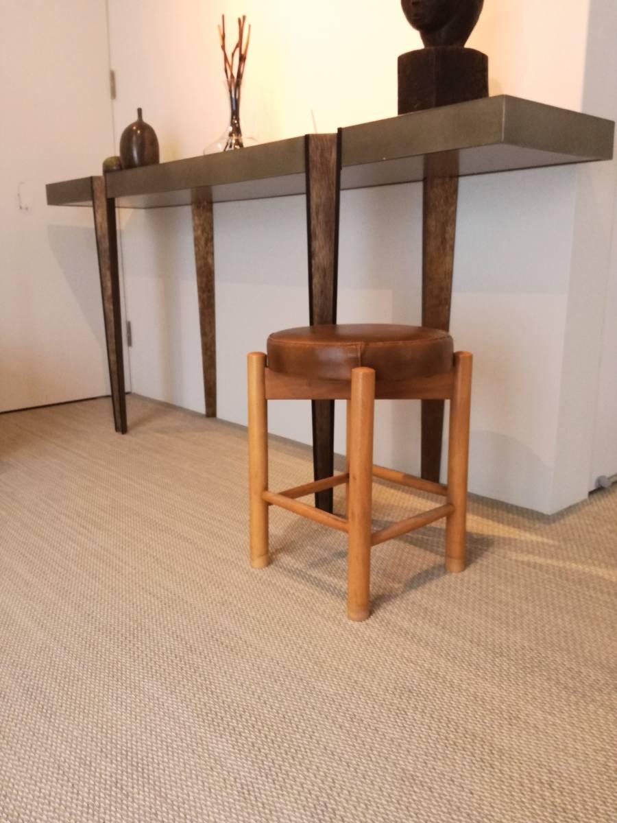 1950 1960 mid century leather stool 高級 展示品 ミッドセンチュリー ヴィンテージ _画像2