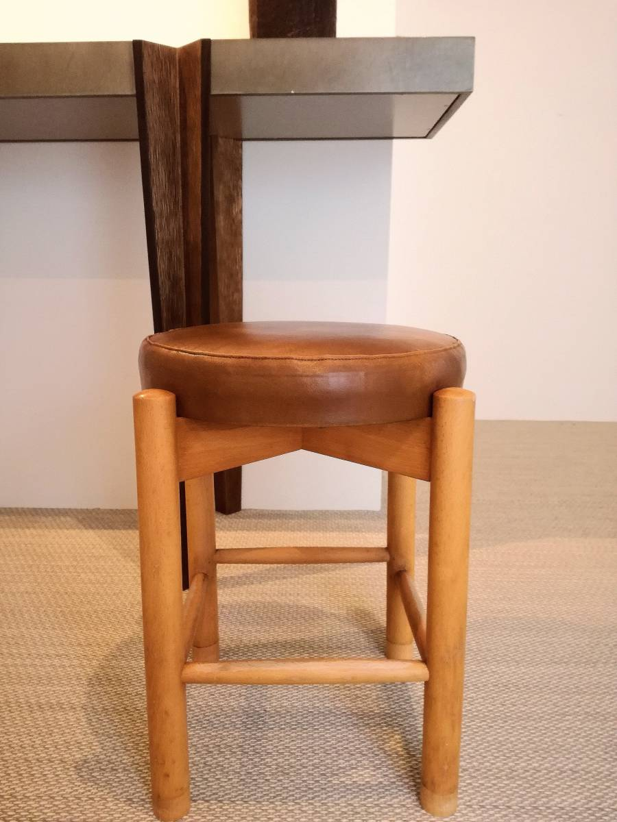 1950 1960 mid century leather stool 高級 展示品 ミッドセンチュリー ヴィンテージ _画像3