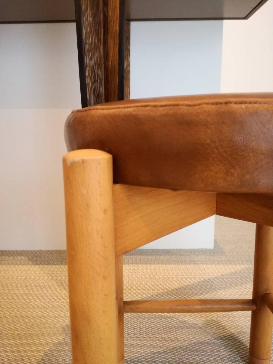 1950 1960 mid century leather stool 高級 展示品 ミッドセンチュリー ヴィンテージ _画像5