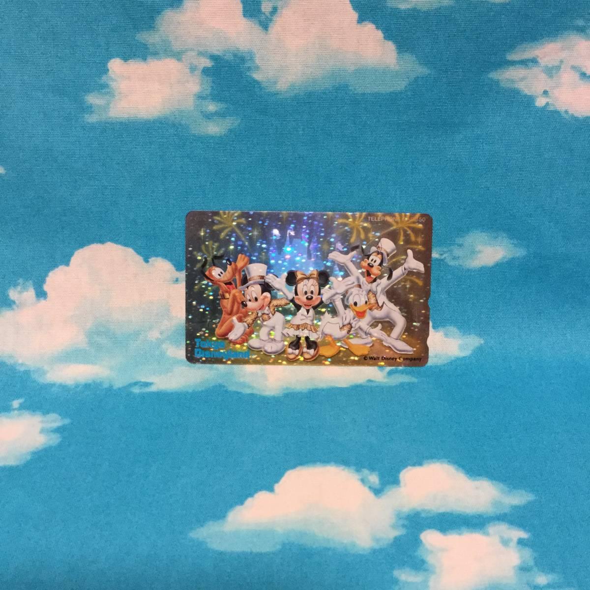 ■Disney東京ディズニーランドホログラムテレカ■50度未使用■プルートミッキーマウスミニーマウスドナルドダックグーフィーテレホンカード_画像1