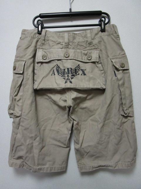 AVIREX ヒップポケット付きハーフパンツ・L(アヴィレックスショートパンツ短パンミリタリーパンツカーゴパンツ)