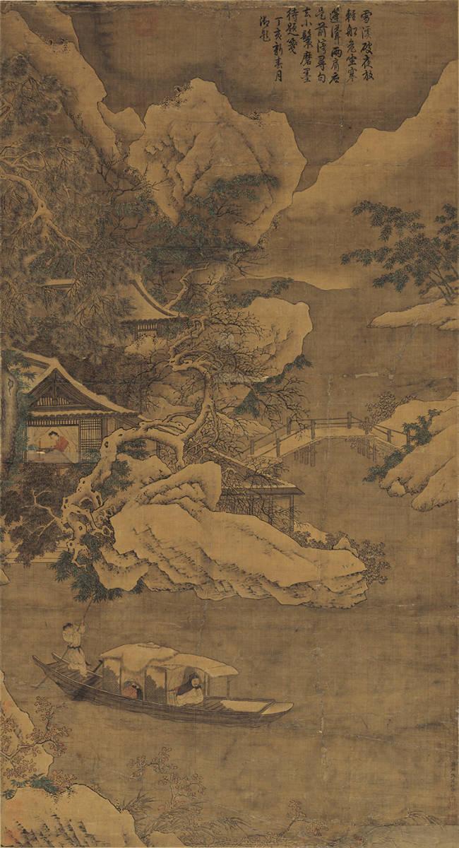 仇英『雪夜行舟図』 山水画 美術品 書 掛軸 掛け軸 中国美術 巻物 中国書画 サイズ:60cm X 112cm