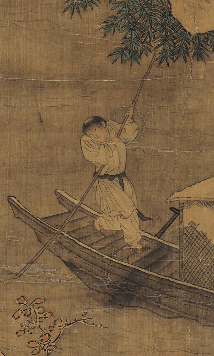 仇英『雪夜行舟図』 山水画 美術品 書 掛軸 掛け軸 中国美術 巻物 中国書画 サイズ:60cm X 112cm_画像7