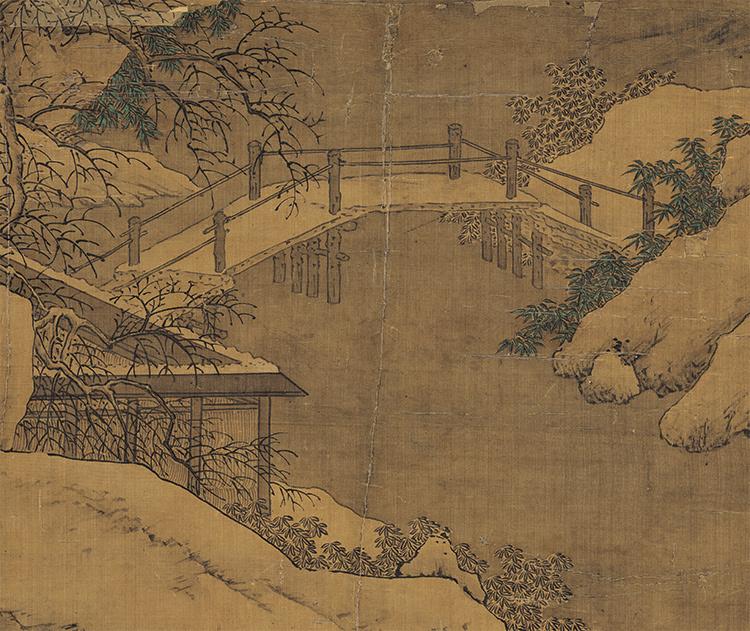 仇英『雪夜行舟図』 山水画 美術品 書 掛軸 掛け軸 中国美術 巻物 中国書画 サイズ:60cm X 112cm_画像6