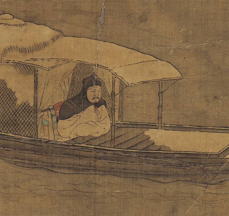 仇英『雪夜行舟図』 山水画 美術品 書 掛軸 掛け軸 中国美術 巻物 中国書画 サイズ:60cm X 112cm_画像8