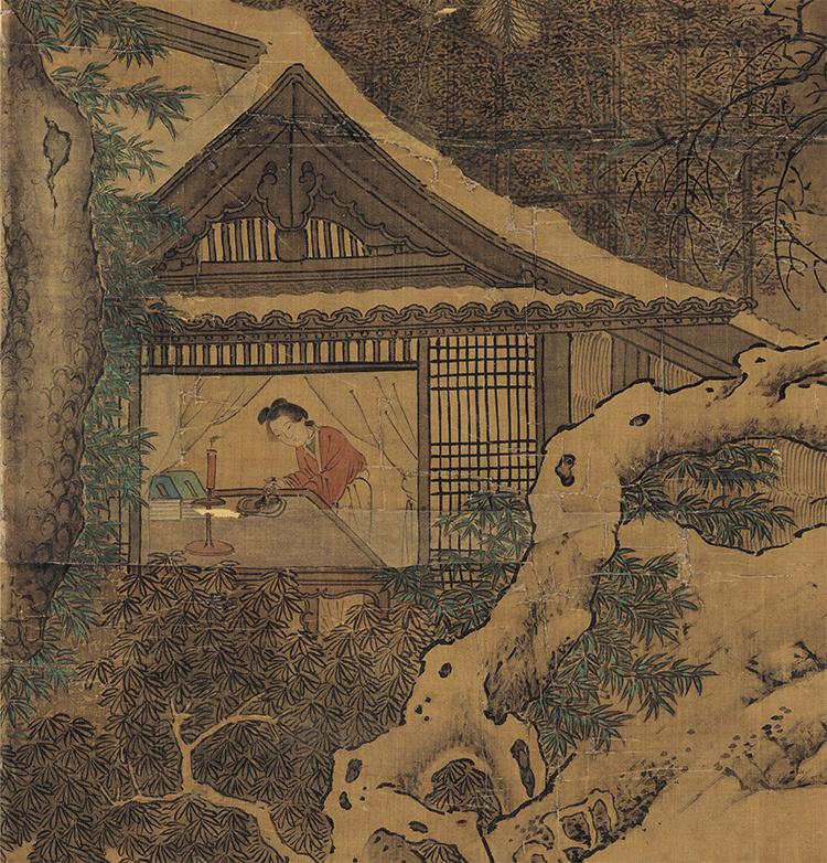 仇英『雪夜行舟図』 山水画 美術品 書 掛軸 掛け軸 中国美術 巻物 中国書画 サイズ:60cm X 112cm_画像5